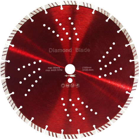 Diamond Cutting Disc ⌀350mm with 25.4mm Bore and 10mm Turbo Segments