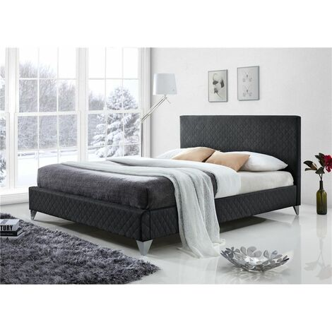 """Diamond Fabric Grey Bed Frame - Double 4ft 6"""""""