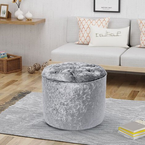 Diamond Foot Rest Pouffe Stool Crushed Velvet Footstool Coffee Table Dress Chair