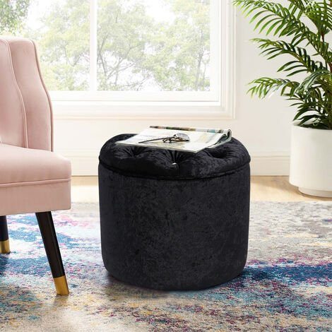"""main image of """"Diamond Foot Rest Pouffe Stool Crushed Velvet Footstool Coffee Table Dress Chair"""""""