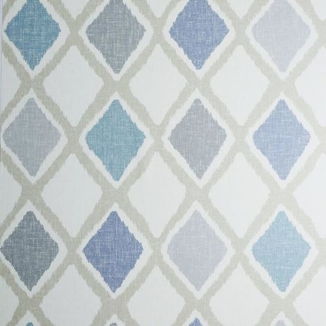 Diamond Geometric Lattice Wallpaper Trellis Blue Grey White Arthouse Ayat