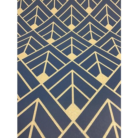 Diamond Geometric Wallpaper Navy Blue Gold Glitter Metallic Shimmer 3D Rasch
