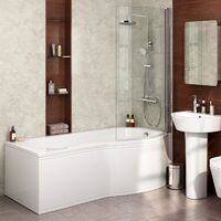 Diamond P Shaped Shower Bath - 1700mm with Screen & Front Panel - Right Hand