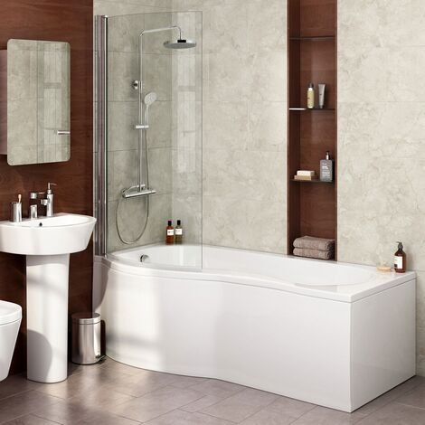 Diamond P Shaped Shower Bath - 1700mm with Screen - Left Hand