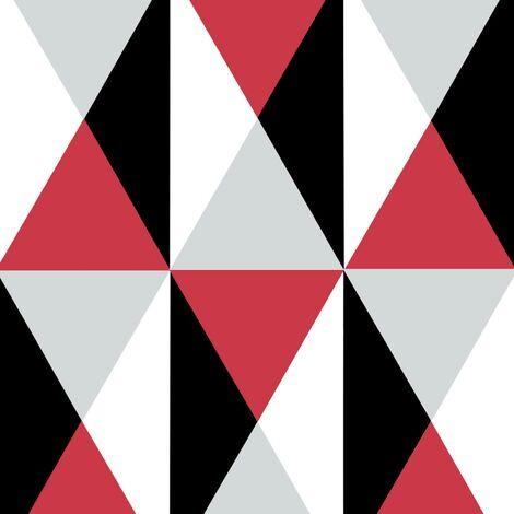 Diamond Red Wallpaper Geometric Triangles Retro Burgundy Black Grey Textured