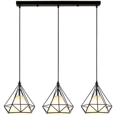 Diamond Shape Pendant Lamp Black Industrial Ceiling Lamp Vintage Hanging Light Retro Pendant Light 3 Lamp Holders E27 Ø20CM Metal Cage Chandelier