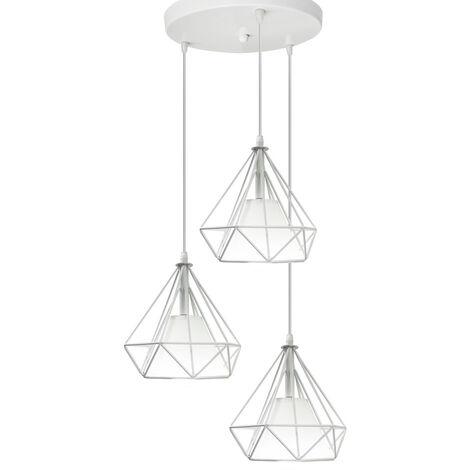 "main image of ""Diamond Shape Pendant Light Retro Ceiling Lamp White Chandelier 3 Lights Vintage Creative Ceiling Light Ø20cm Cage Pendant Lamp"""