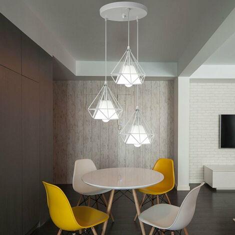 "main image of ""Diamond Shape Pendant Light Vintage Retro Ceiling Lamp White Chandelier 3 Lights Creative Ceiling Light Ø20cm Cage Pendant Lamp"""