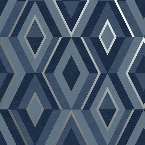 Diamond Shard Wallpaper Blue Silver Geometric Metallic Fine Decor