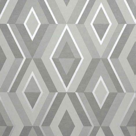 Diamond Shard Wallpaper Silver Grey Geometric Metallic Fine Decor