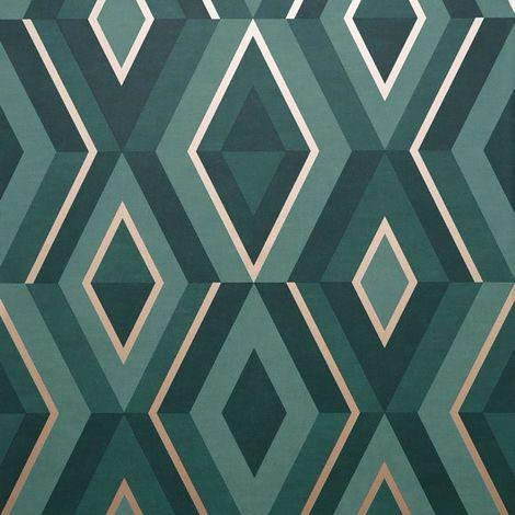 Diamond Shard Wallpaper Teal Gold Geometric Metallic Fine Decor