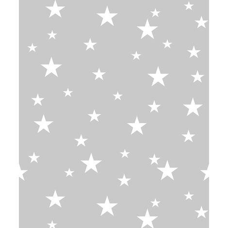 Diamond Stars Grey Silver Glitter Wallpaper Boys Girls Bedroom Vinyl Arthouse