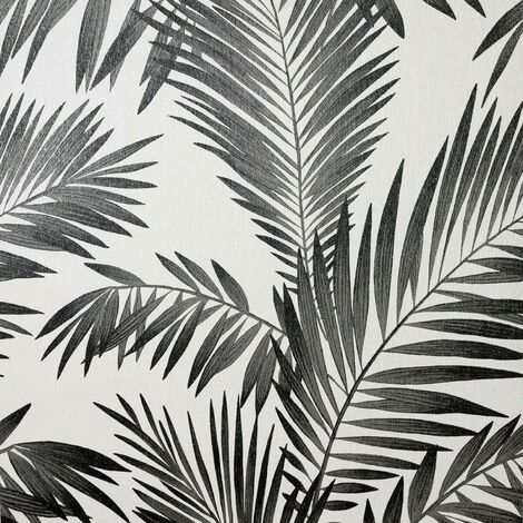 Diamond Tropical Palm Wallpaper Arthouse Black Silver Glitter Off White