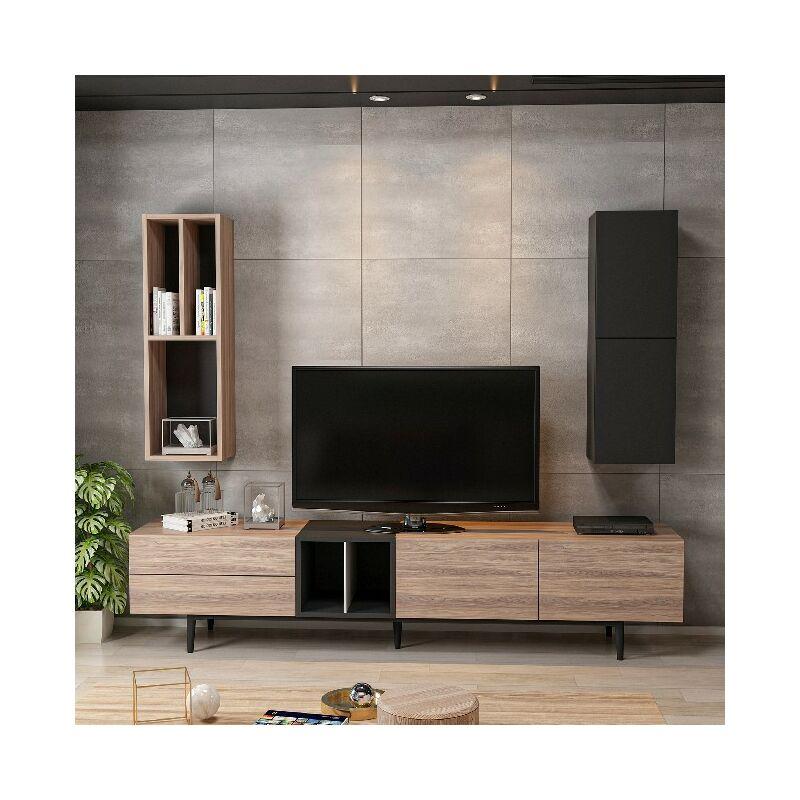 Homemania - Diany TV-Schrank - Modern Modular, Buecherschrank - mit Tueren, Regalen, Einlegeboeden - vom Wohnzimmer - Schwarz, Holz aus Holz, 195 x