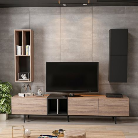 Diany TV Stand - with Bookcase, Doors, Shelves - for Living Room - Black, made in Wood, 195 x 37 x 45 cm