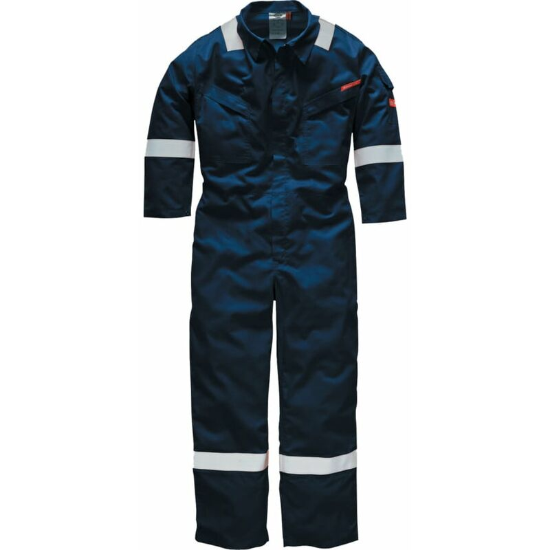 Image of Dickies FR5401 Lightweight Pyrovatex Navy Flame Retardant Coverall 220GSM 56R