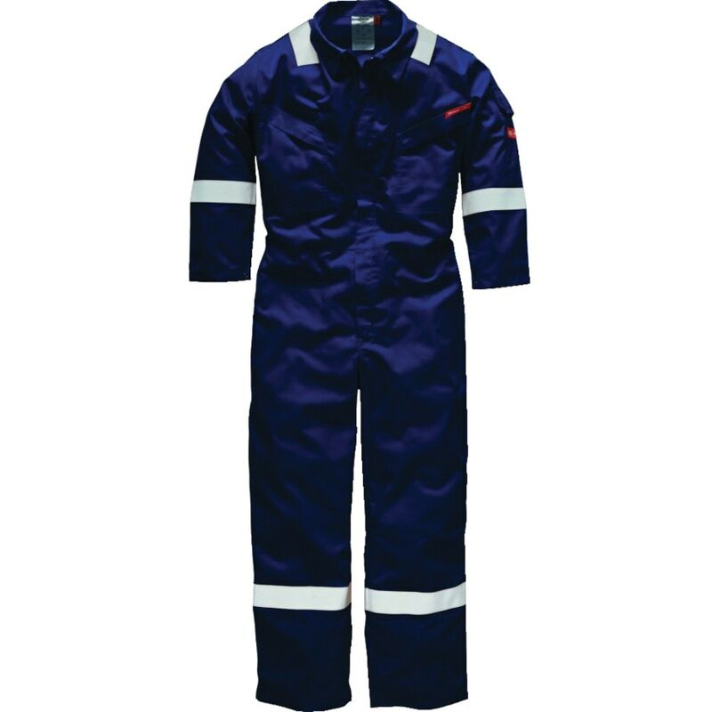 """Image of Dickies FR5402 Pyrovatex Coverall 350GSM Navy 48""""R"""