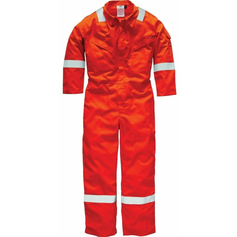 """Image of Dickies FR5402 Pyrovatex Coverall 350GSM Orange 52""""R"""
