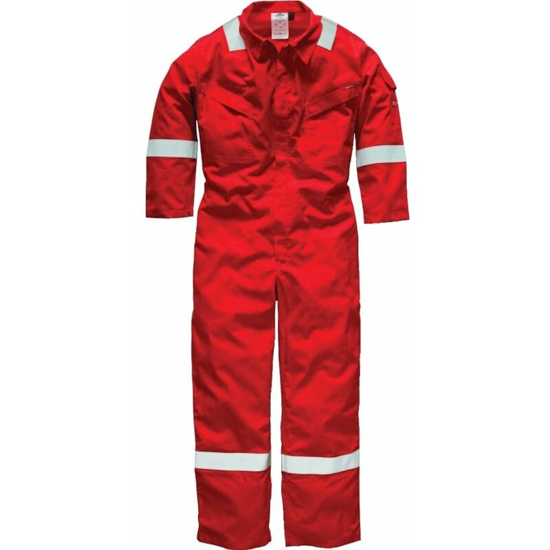 """Image of Dickies FR5402 Pyrovatex Coverall 350GSM Red 50""""R"""