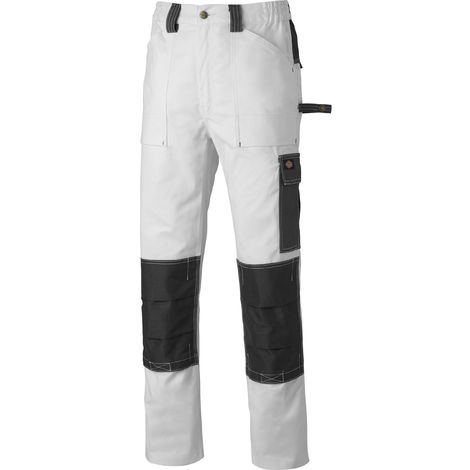 Dickies Grafter Duo Tone Cotton Multi-Pocket Work Trousers White & Grey (Various Sizes)