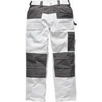 Dickies Mens Trousers Knee Pad Pockets Painters Decorators WD4930 White