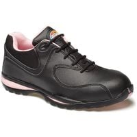 Dickies Ohio Womens Safety Work Trainer Shoes Black & Pink (Sizes 3-8)