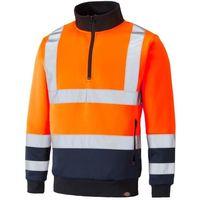 Dickies Two Tone Hi-Vis Sweatshirt Jumper Orange & Navy (Sizes S-XXXXL)