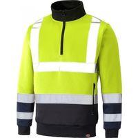 Dickies Two Tone Hi-Vis Sweatshirt Jumper Yellow & Navy (Sizes S-XXXXL)