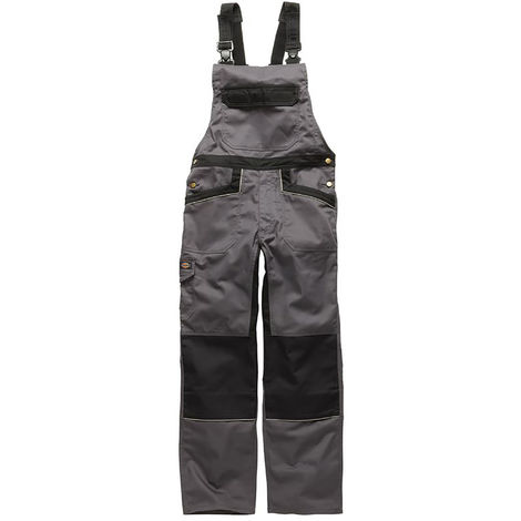 Dickies Unisex Industry 260 Bib & Brace Coveralls (Regular And Tall Leg) / Workwear (30T) (Grey / Black)