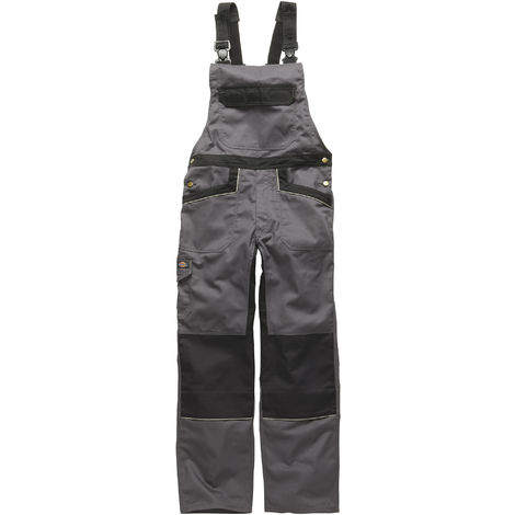 Dickies Unisex Industry 300 Two-Tone Work Bib & Brace Coveralls / Workwear (30T) (Grey / Black)