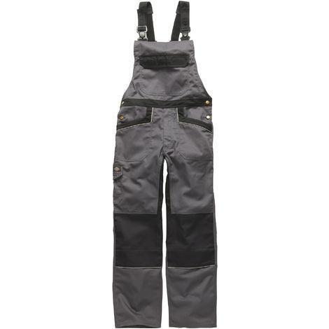 Dickies Unisex Industry 300 Two-Tone Work Bib & Brace Coveralls / Workwear (Pack of 2) (30T) (Grey / Black)