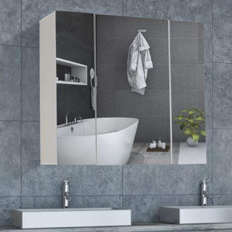 """main image of """"DICTAC Meuble Miroir Salle de Bain 70×15×60cm armoires murales avec Miroir Meuble Salle de Bain Miroir Mural Armoire de Toilettes avec 3 Portes Miroir et 3 Niveaux Étagères à Hauteur Réglable Blanc"""""""