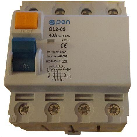 Diferencial 4 polos 40A 30mA Clase A inmunizado - O.Electric