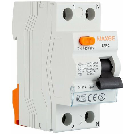 Diferencial Industrial MAXGE 25A 2P 10mA monofásico Clase AC