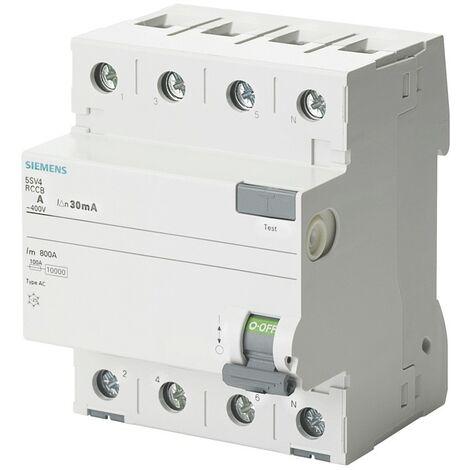 Différentiel de l'interrupteur, Pur, Siemens 4 Pôles 40A 30mA AC-Type, 4 Modules
