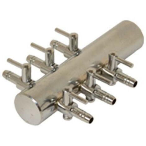 Diffuseur air Manifold en acier réglable - 6 sorties 4/6mm pour pompe a air et compresseur