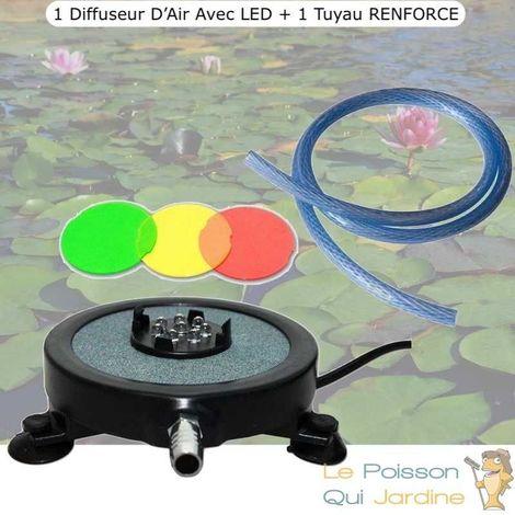 Diffuseur D'Air 2 En 1, Disque à LED Intégrée, 10 cm + 1 Tuyau 10M RENFORCE 8mm