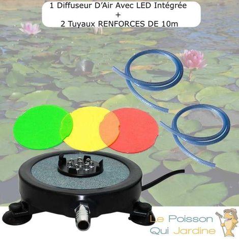 Diffuseur D'Air 2 En 1, Disque à LED Intégrée, 10 cm + 2 Tuyaux 10m RENFORCES 8mm