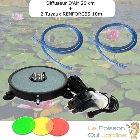 Diffuseur D'Air 2 En 1, Disque à LED Intégrée, 20 cm + 2 Tuyaux RENFORCES De 10 m