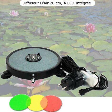 Diffuseur D'Air 2 En 1, Disque à LED Intégrée, 20 cm, Pour Bassins De Jardin