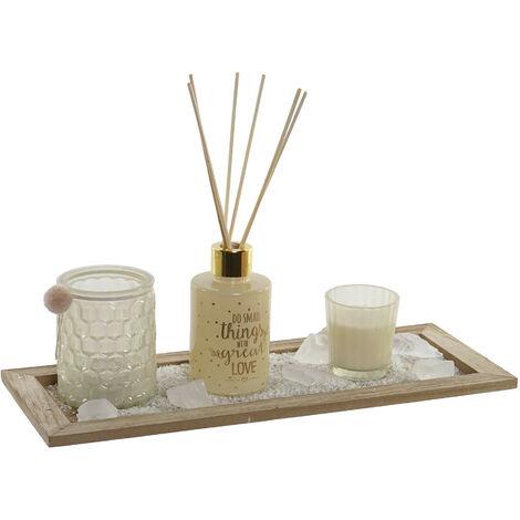 Difusor Aromas de Varillas 80 ml + 2 Velas Aromáticas Cera + Piedras Perfumadas con Arena + Soporte de Madera 37X9X15 cm