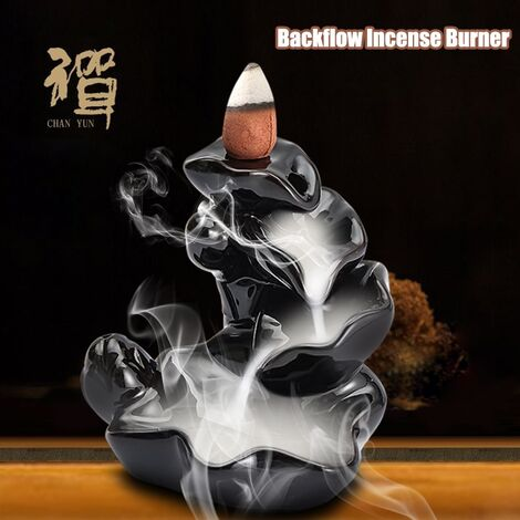 Difusor de aromaterapia reflujo de flores negras quemador de incienso de cerámica titular incensario budista decoración del hogar con conos de 10 piezas
