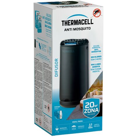Difusor Thermacell® Anti Mosquito, Negro; Fácil de usar, Altamente eficaz e Inalámbrico; Crea un escudo Anti Mosquito de 20 m2, te ofrece 12 Horas de protección sin DEET, sin humo, sin spray