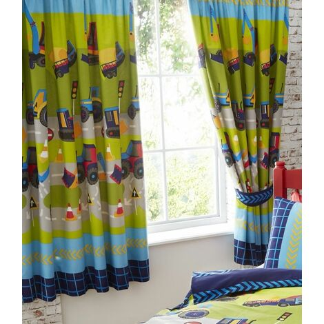 """Diggers Fully Lined Curtain Pair 66x72"""" Childrens Bedroom"""