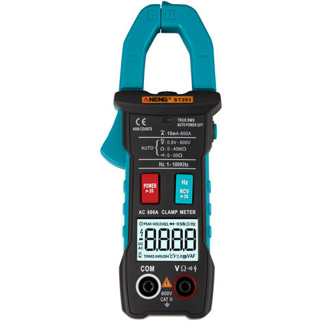 Digital ammeter clamp meter voltmeter without battery blue
