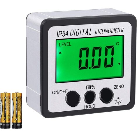 Digital Inclinometer Level Protractor 4x90 ° Sight Angle Green Backlight Angle Magnetic Base Bevel Level Gauge With Battery Screwdriver User Manual