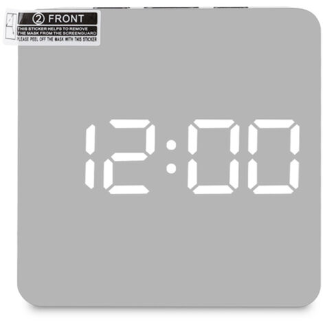 Digital LED Mirror Clock 12H / 24H Alarm and Snooze Function