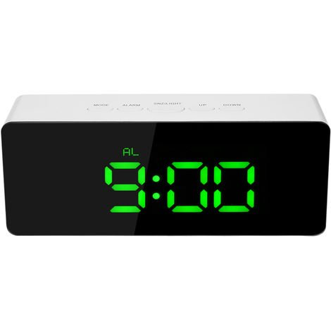 Digital LED Mirror Clock USB and Battery Powered Green