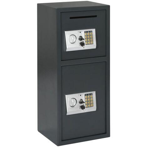 Digital Safe with Double Door Dark Grey 35x31x80 cm