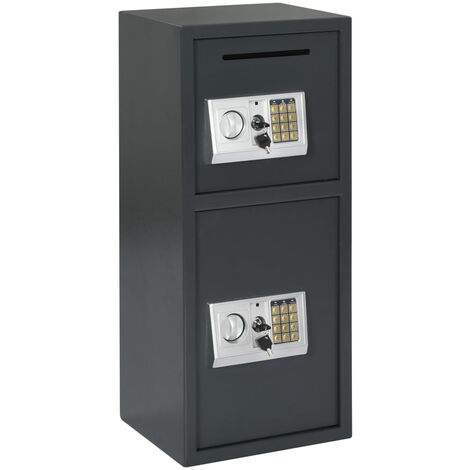 Digital Safe with Double Door Dark Grey 35x31x80 cm